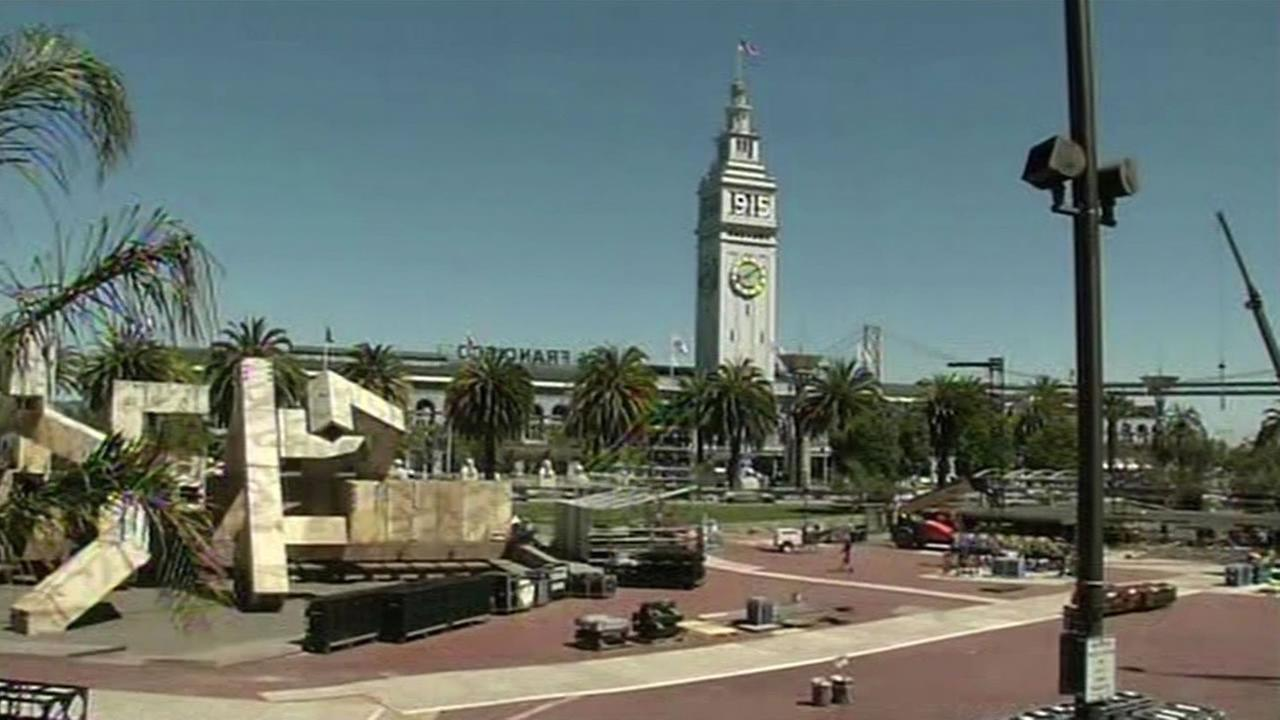 The sun shines on Justin Herman Plaza in San Francisco, California on Monday, September 7, 2015.