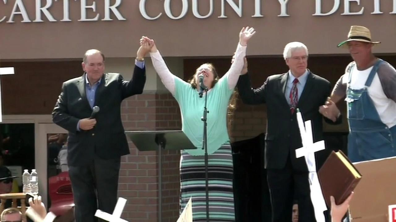 A Kentucky county clerk who refused to issue marriage licenses because of her religious beliefs is seen at a rally after she was released from jail on Tuesday, September, 8, 2015.