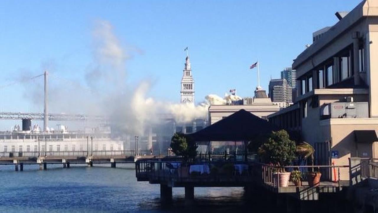 A one-alarm flue fire broke out at a restaurant at San Franciscos Pier 5 on Tuesday, September 8, 2015.