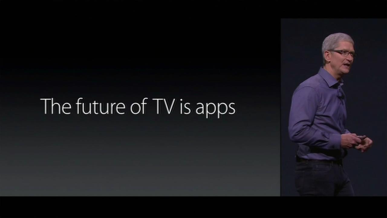 Tim Cook talks about Apple TV at Apples latest product unveiling Sept. 9, 2015 at the Bill Graham Civic Auditorium in San Francisco.