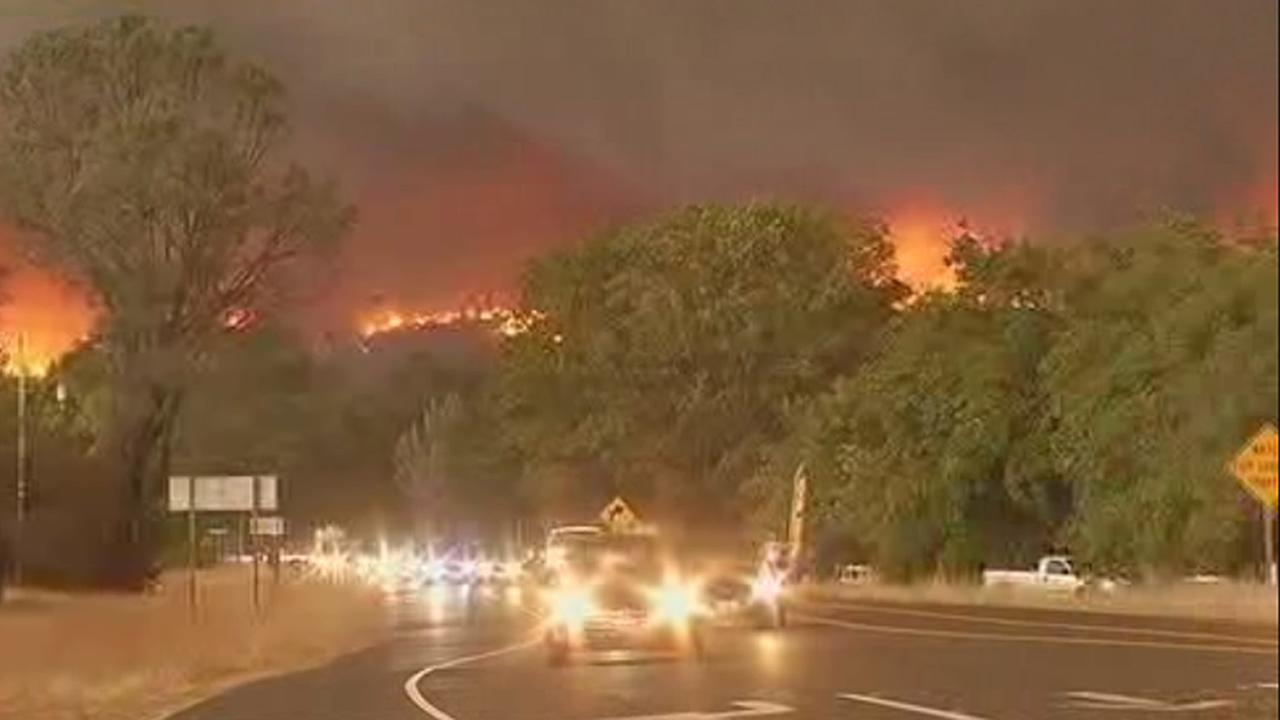 The Valley Fire in Lake County, Calif., burned thousands of acres on Saturday, September, 12, 2015, as thousand tried to flee the area prompted by mandatory evacuation orders.