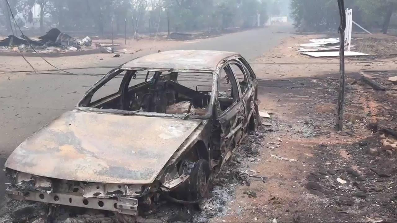 A car that was destroyed in the Valley Fire thats burning in Lake County and Napa County is seen on Sunday, September 13, 2015.