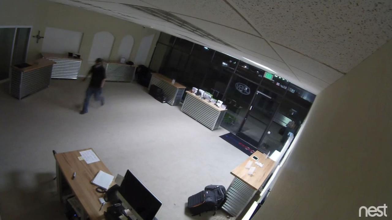Two burglars were caught on camera robbing a drone store in Santa Clara, Calif. Monday, September 14, 2015.