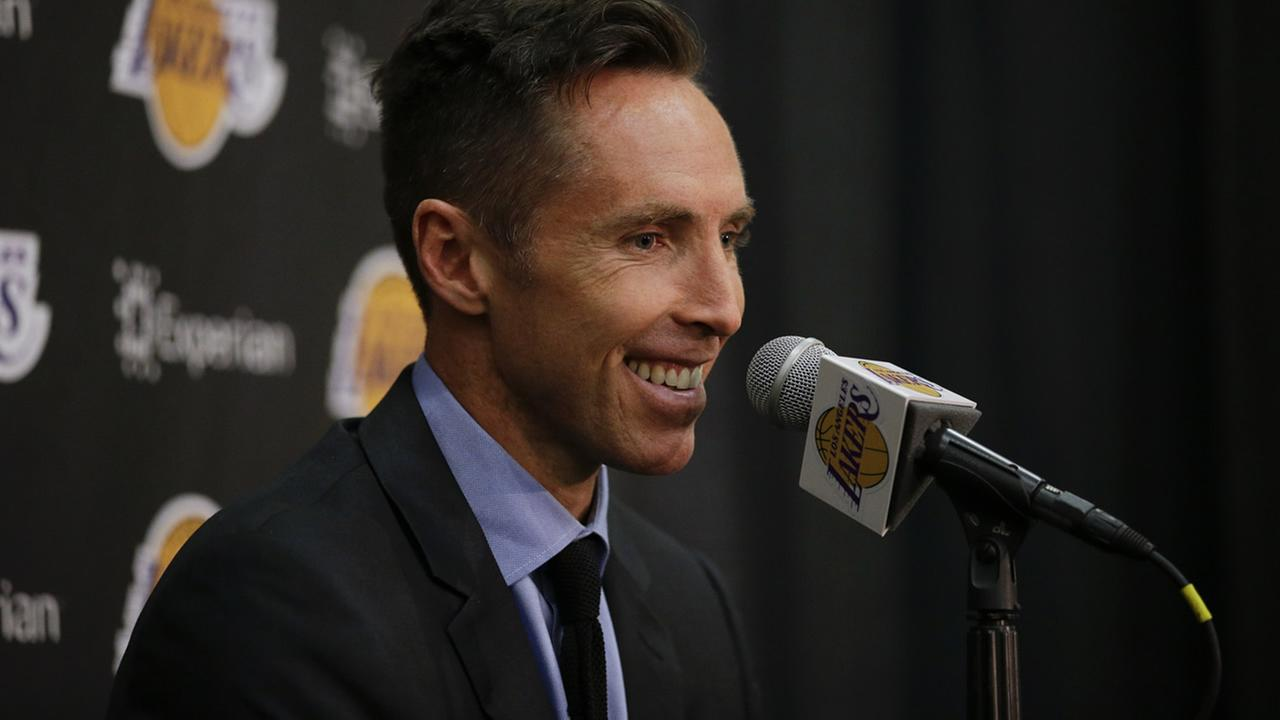 Los Angeles Lakers Steve Nash smiles while speaking at a news conference, Tuesday, March 24, 2015, in El Segundo, Calif.