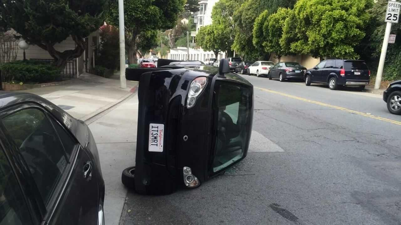 Vandals tipped over a Smart car on Clayton Street near 17th Street in San Francisco.