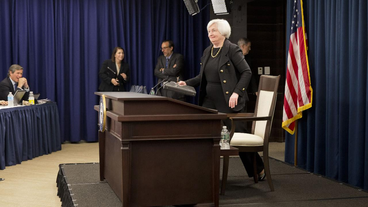 Federal Reserve Chair Janet Yellen arrives to speak at a news conference in Washington, Thursday, Sept. 17, 2015.