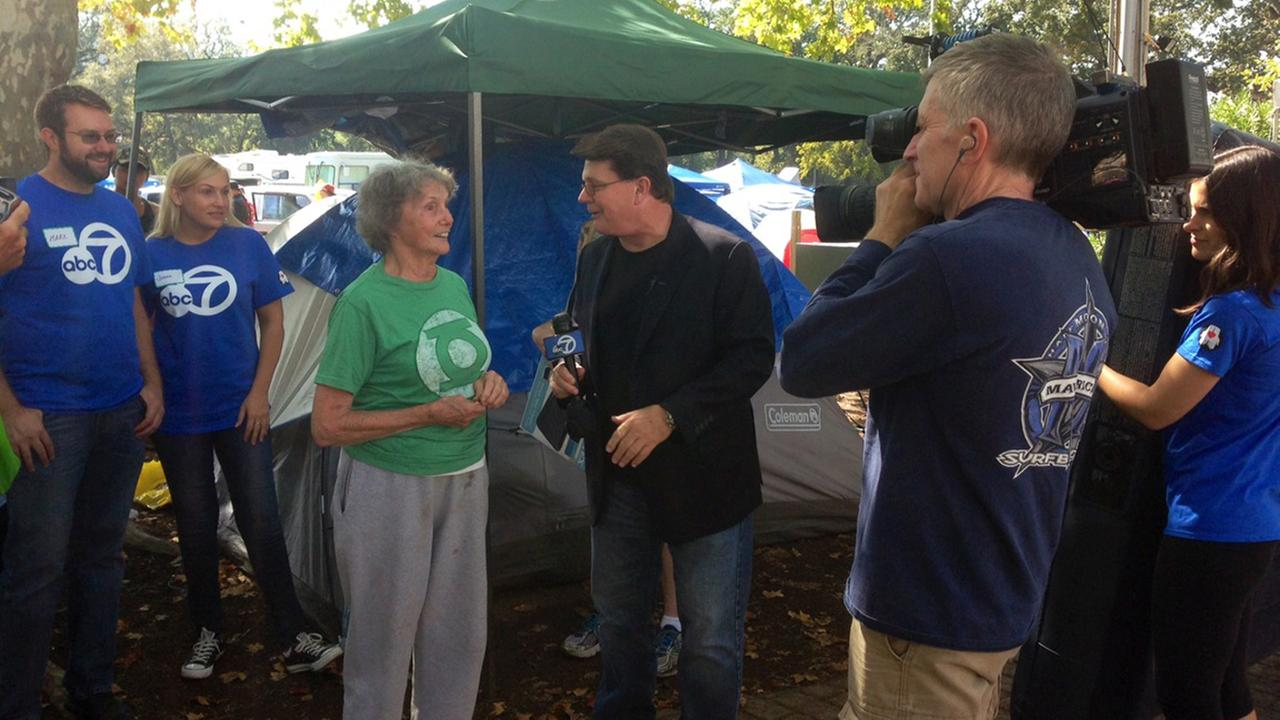 Michael Finney and the 7 On Your Side team at the Valley Fire evacuation center in Calistoga, Thursday, September 17, 2015.