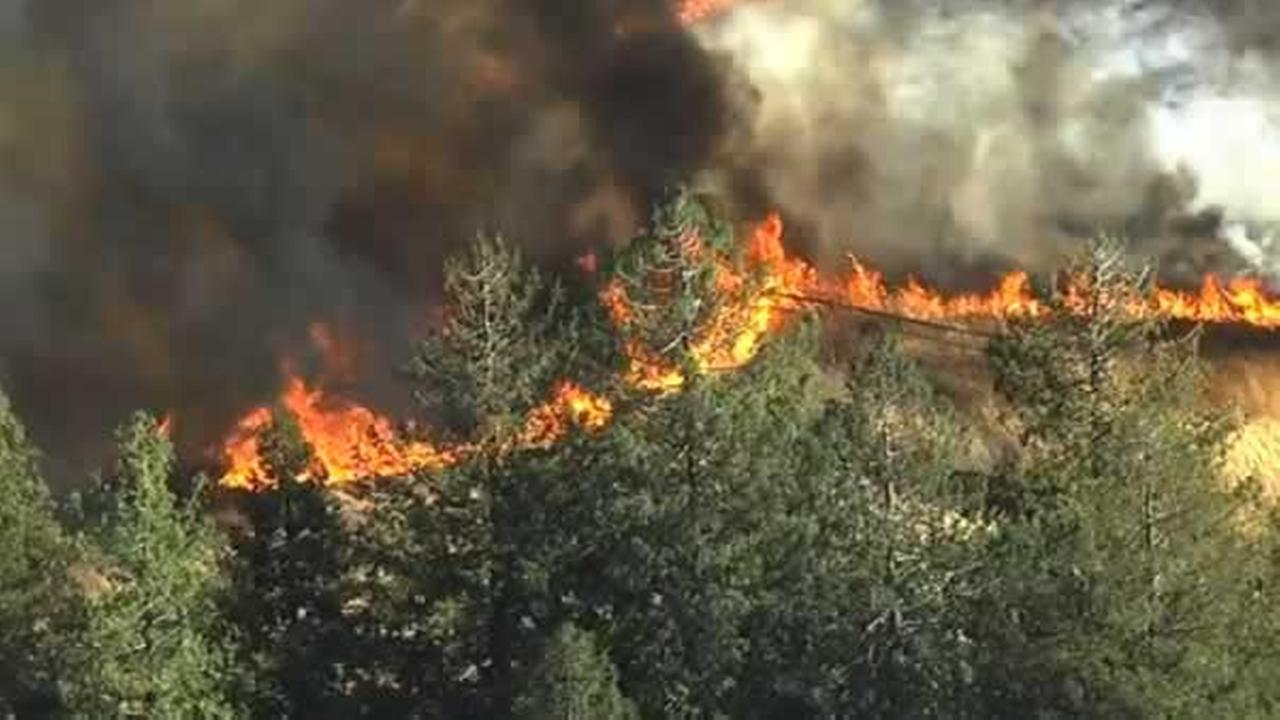 A fast-moving fire is burning near Briones Regional Park in Martinez, Calif. on Monday, September 21, 2015.