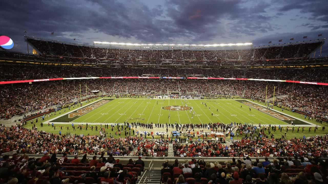 Fans at Levis Stadium watch during the first half of an NFL football game between the San Francisco 49ers and the Minnesota Vikings in Santa Clara, Calif., Monday, Sept. 14, 2015.