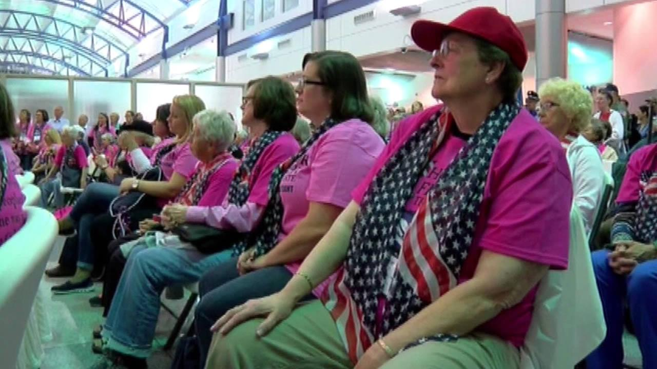 A group of female veterans gathered Tuesday, September 22, 2015 for a special send-off to Washington D.C. where they will take part in an Honor Flight.