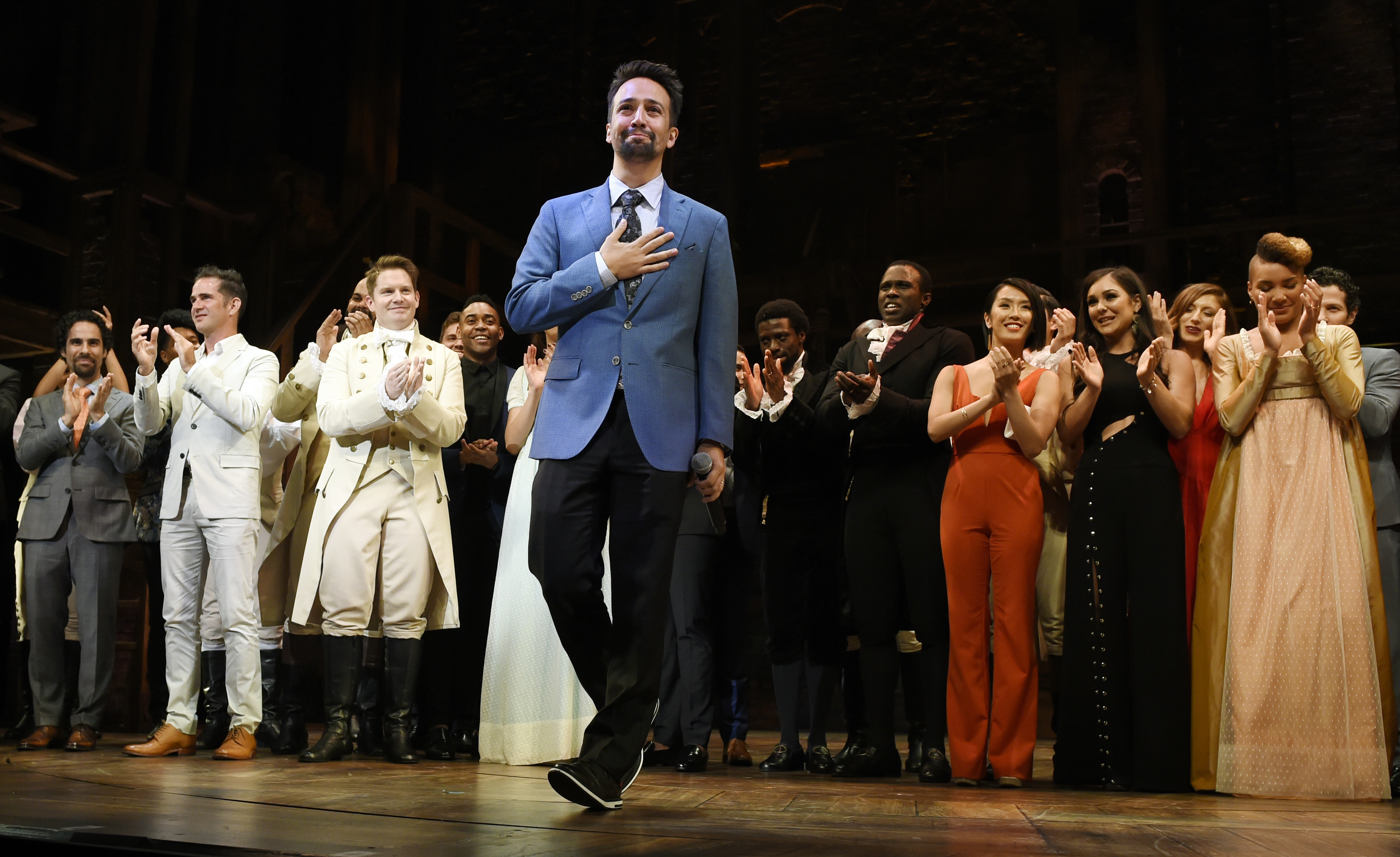 Lin-Manuel Miranda, creator of Hamilton: An American Musical, on the opening night of the Los Angeles run of the show at the Pantages Theatre on Aug. 16, 2017.