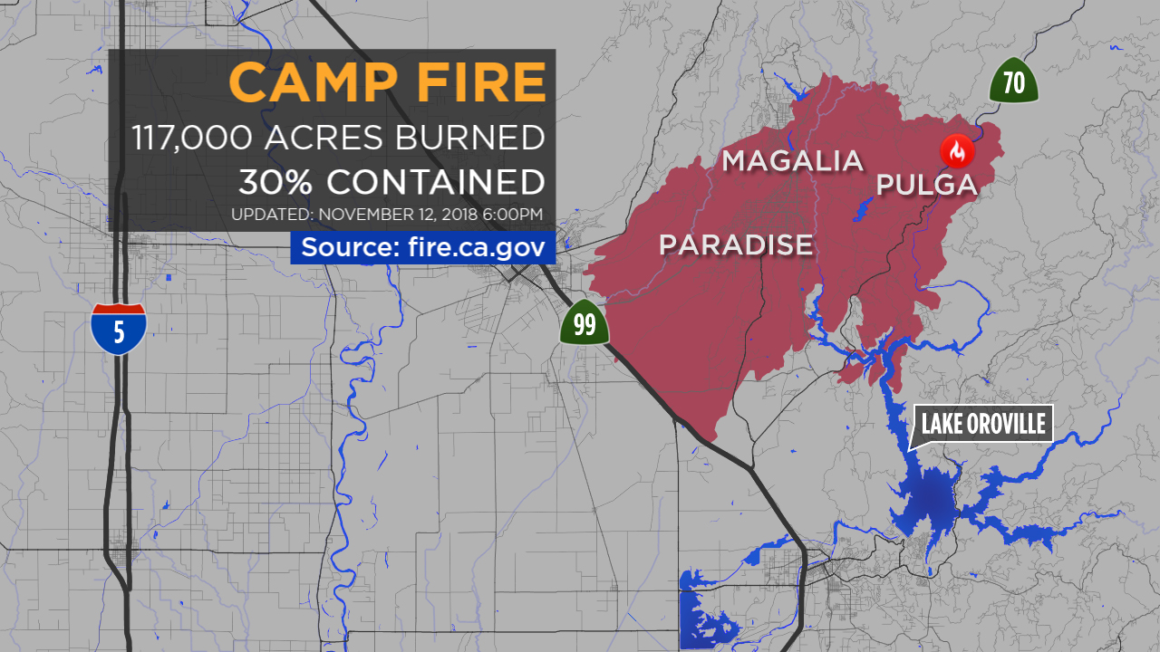 A graphic shows the location and size of the Camp Fire burning in Northern Californias Butte County.