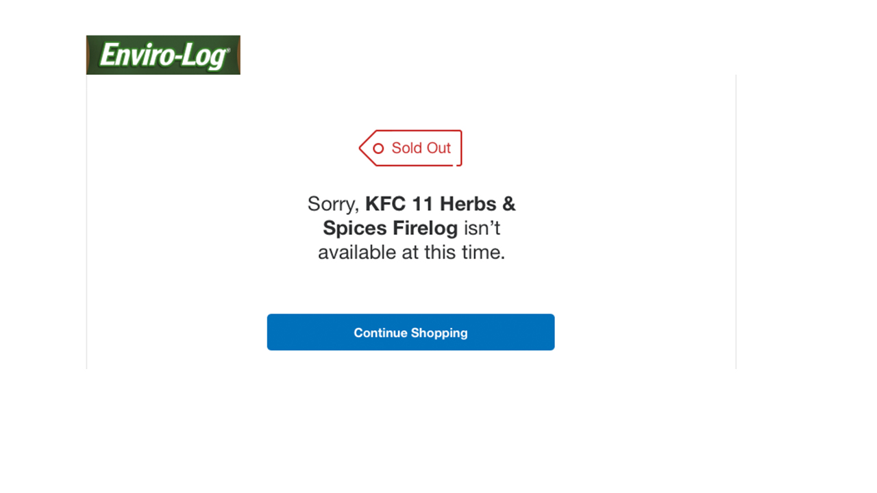 KFC Limited Edition 11 Herbs /& Spices Fire Log by Enviro-Log Firelog New IN HAND