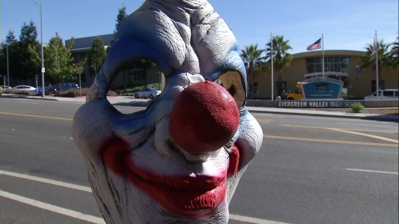 A clown mask is pictured outside of Evergreen high school, part of the East Side Union High School district in San Jose, Calif. Oct. 6. 2016.
