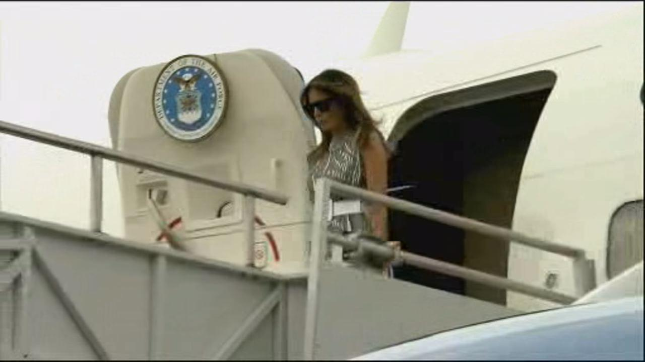 This undated image shows first lady Melania Trump exiting Air Force One.
