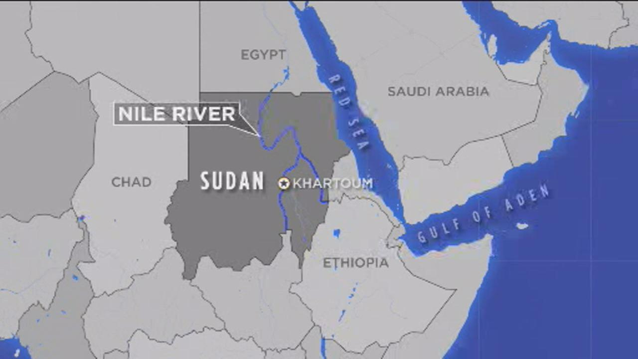 This image shows a map of the area where a boat sank, killing at least 22 in Sudan on August 15, 2018.