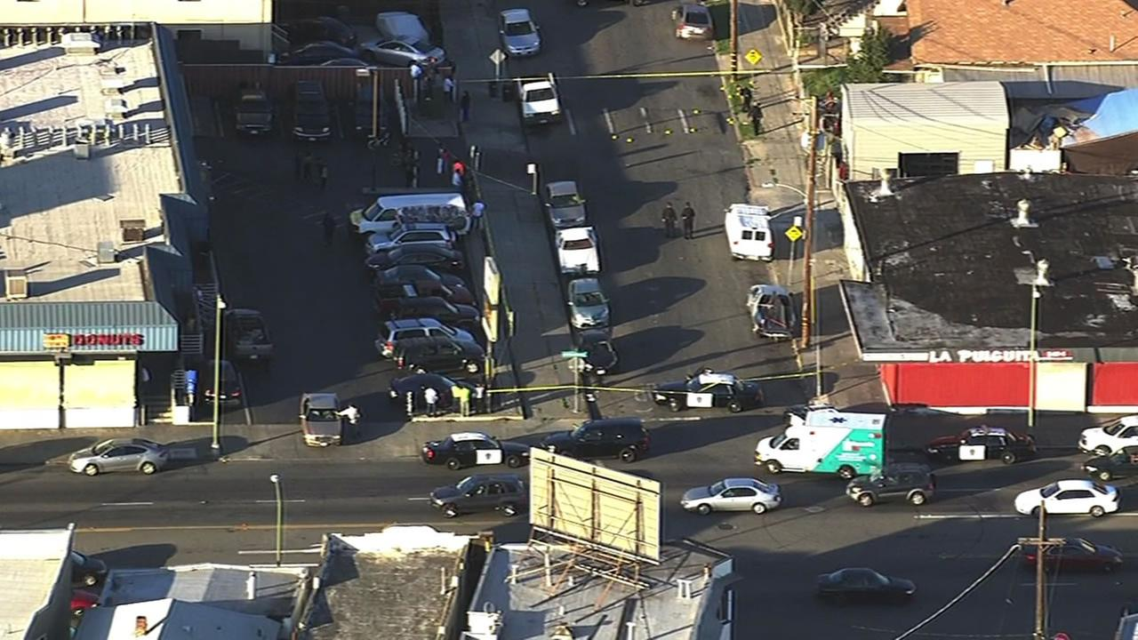 Oakland police are on the scene of a shooting at 51st Avenue and International Blvd. April 1, 2015.