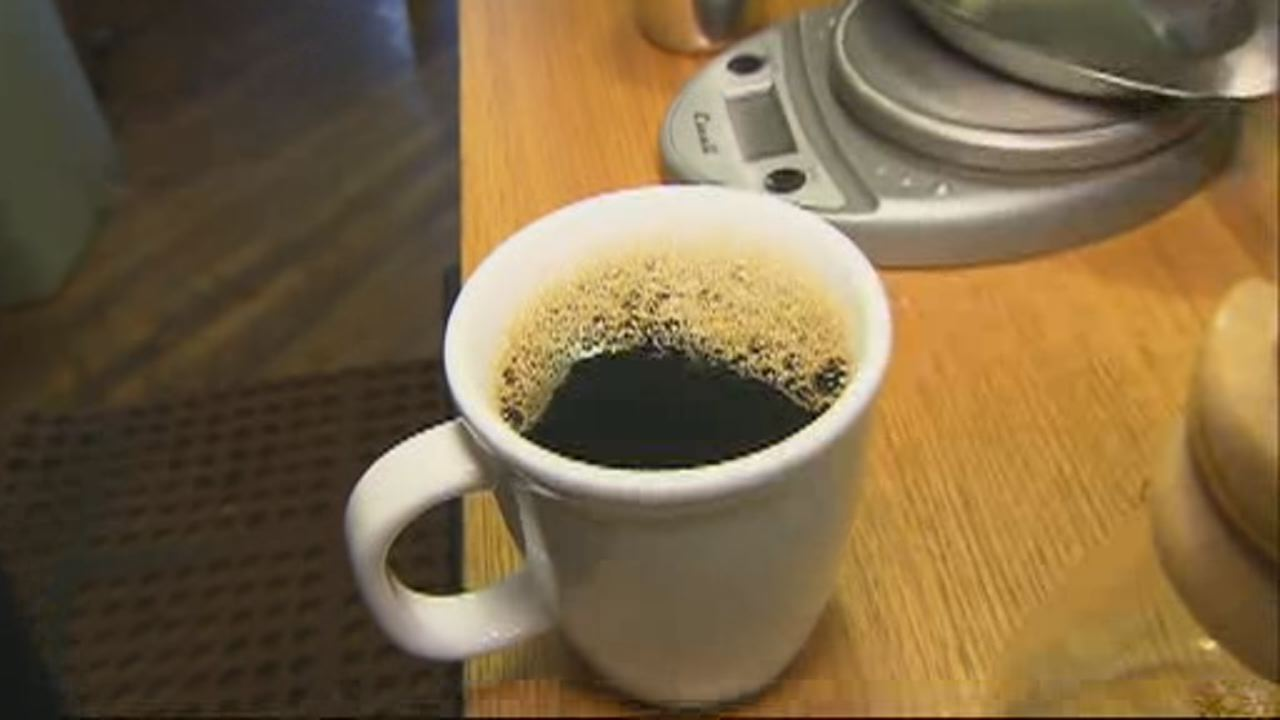This undated image shows a cup of coffee.
