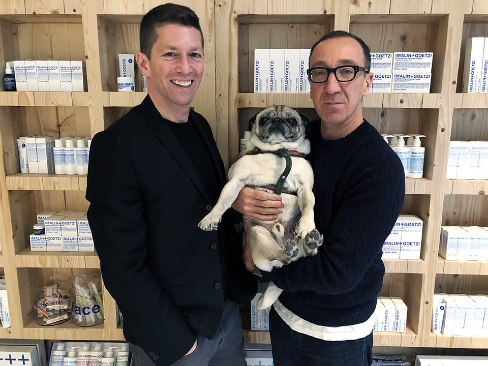 Founders Matthew Malin (left) and Andrew Goetz with their dog Mr. Greenberg, adopted from Green Mountain Pug Rescue. | Photos: Teresa Hammerl/Hoodline