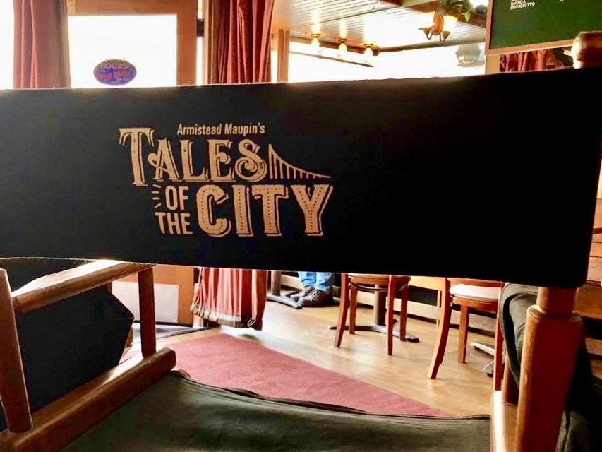 Tales of the City cast chairs at Chow yesterday. | Photo: Tours of the Tales/Facebook