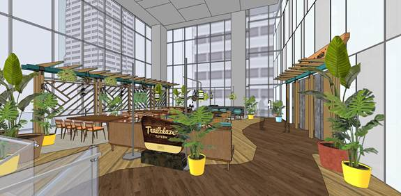 Rendering of the planned mezzanine level at Trailblazer Tavern. | Photos: Courtesy of Mina Group