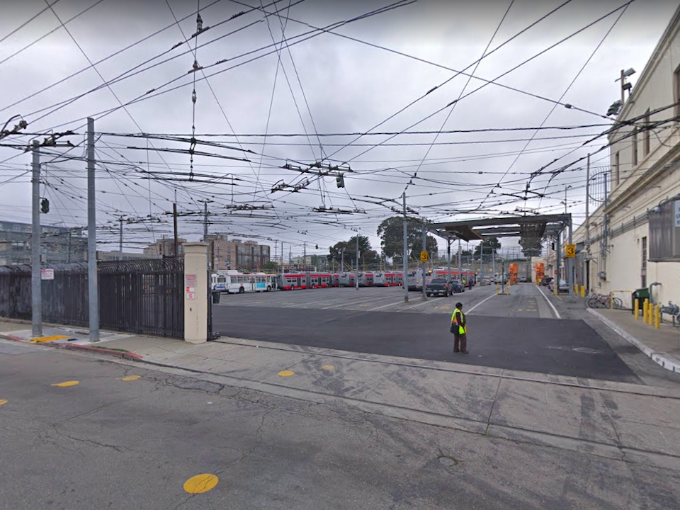 The current Potrero bus yard, as viewed from 17th and Mariposa streets. | Image: Google