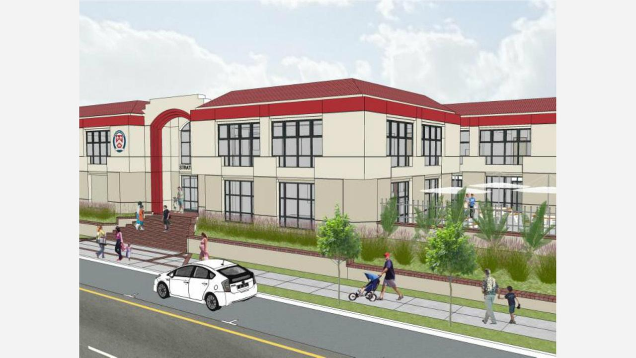 A rendering of the school as it will appear after reopening. | Image via Stratford School