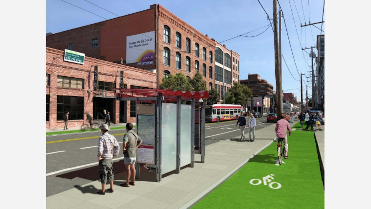 Rendering of potential safety improvements on Townsend Street. | via SFMTA