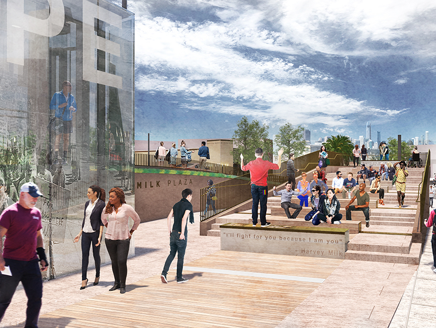 A rendering of the newly redesigned Harvey Milk Plaza. | Images: Perkins Eastman