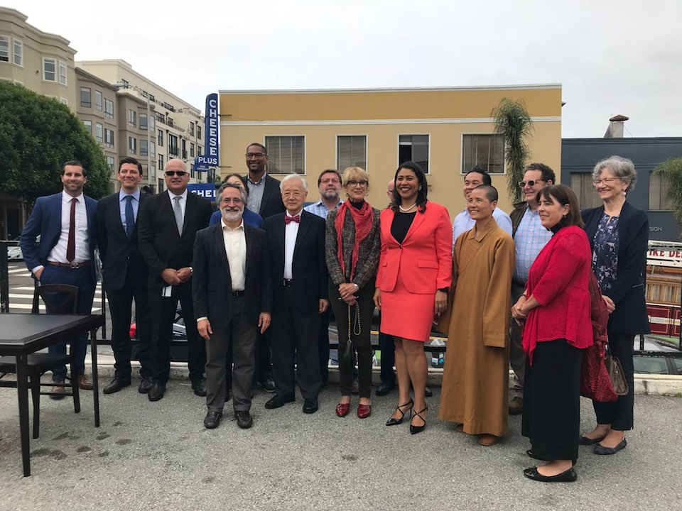 Mayor London Breed and Sup. Aaron Peskin were among the attendees at Discover Polks signing ceremony. | Photo: Courtesy of OEWD