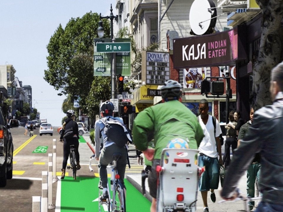 The Polk Streetscape project includes new bike lanes, pedestrian safety improvements, and fewer parking spots | Image: SFMTA