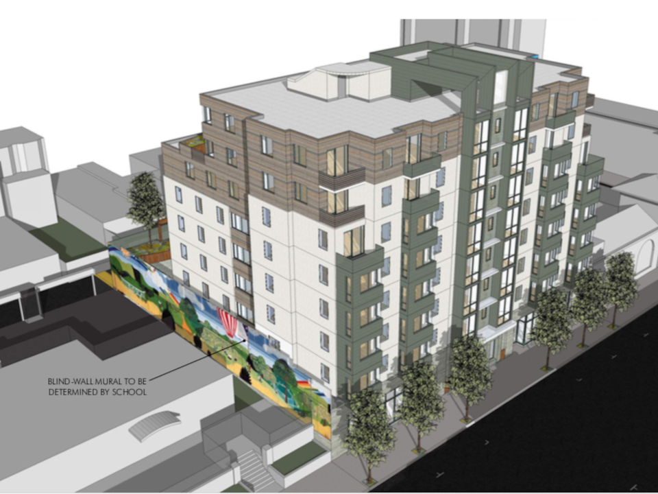 As proposed, 2918 Mission St. would feature a mural from a nearby school. | Renderings via SF Planning