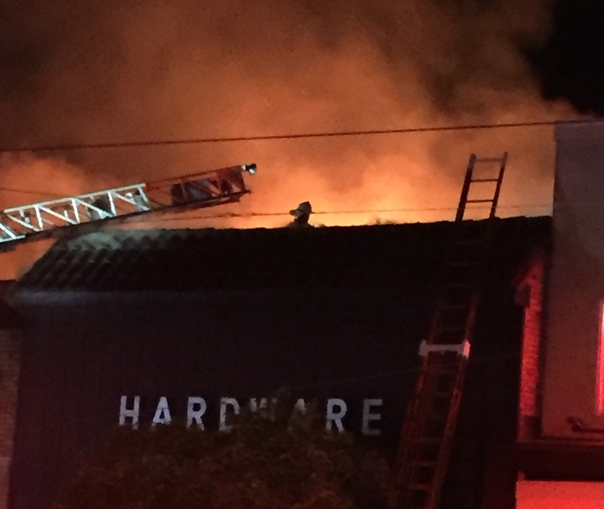 A fire erupted at the hardware store on January 23, 2018. | Photo: Courtesy of Karl Aguilar