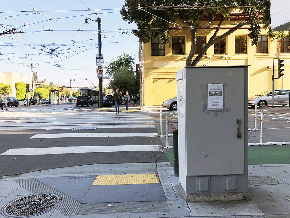 An old utility box at the corner of Church Street and Duboce Avenue. | Photo: Teresa Hammerl/Hoodline