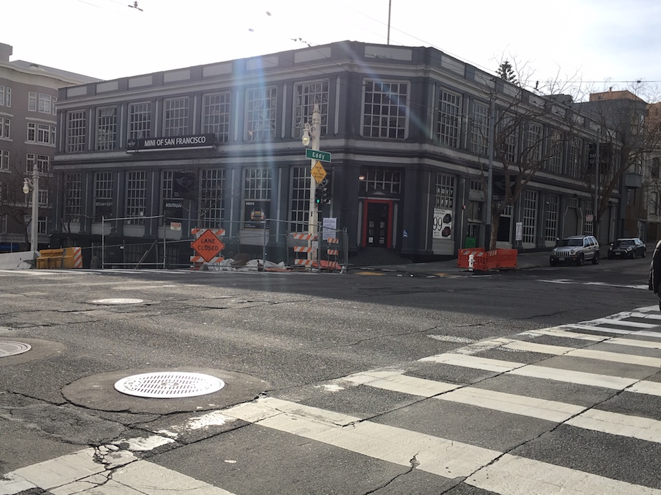 The Mini dealership at the corner of Van Ness and Eddy streets. | Photo: Carrie Sisto/Hoodline