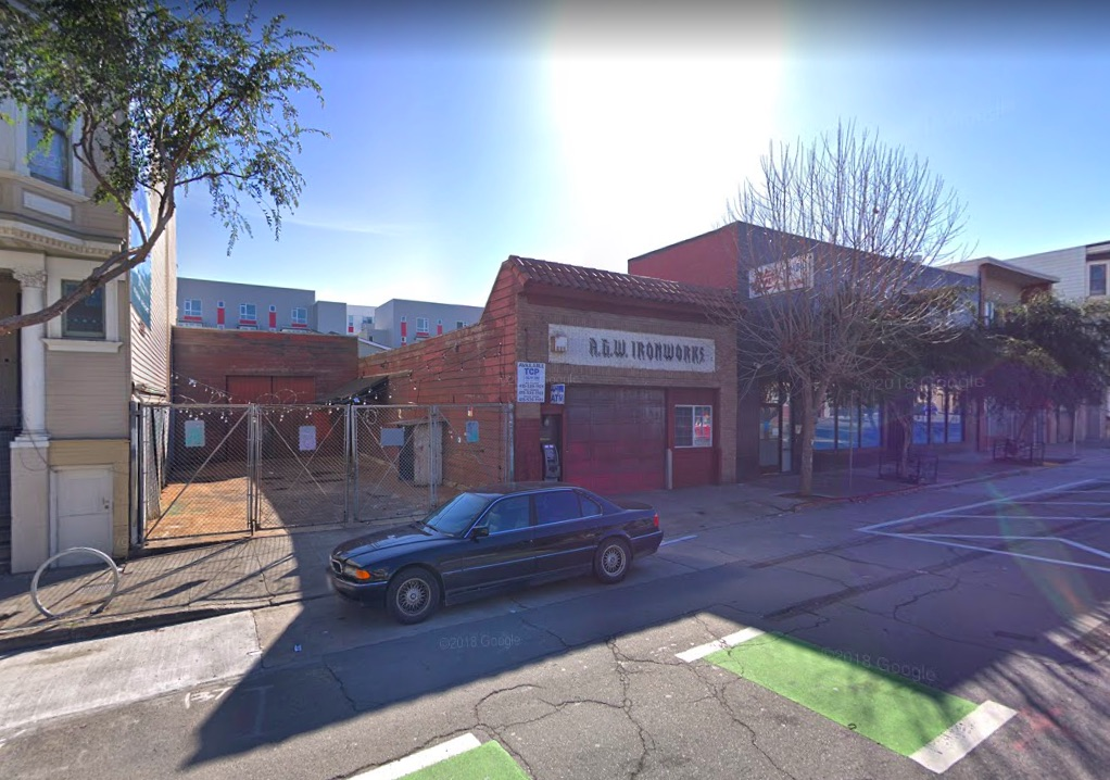 1233 Folsom St. could be developed into a new nine-story mixed-use development. | Image: Google