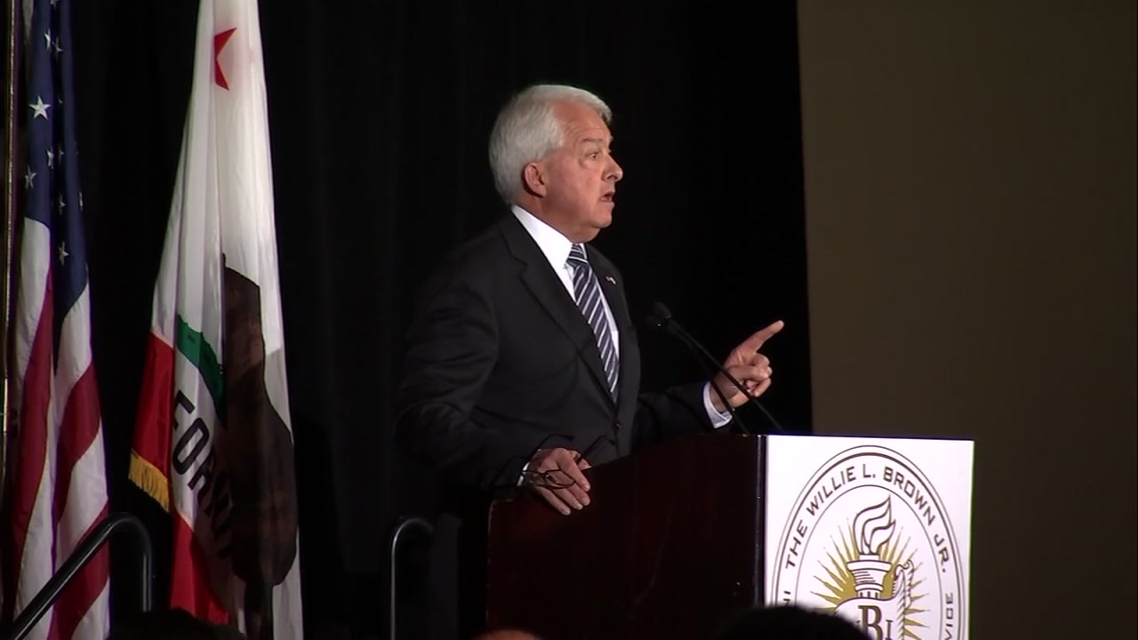 This photo shows gubernatorial candidate Rep. John Cox speaking at the Fairmont Hotel in San Francisco, Calif. on Tuesday, Oct. 30, 2018.