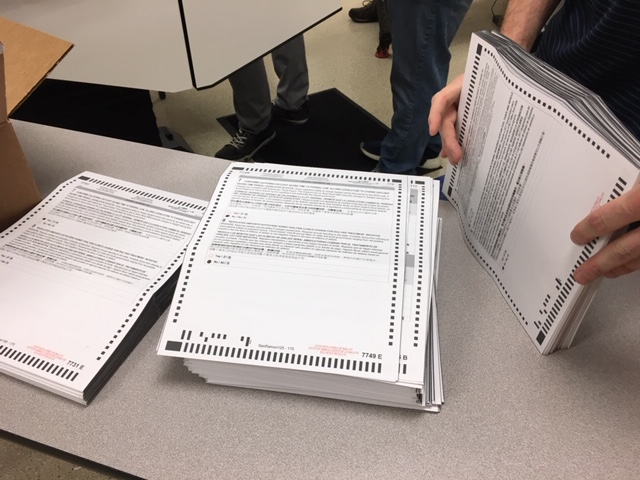 This photo shows voter ballots in Contra Costa County, Calif. on Thursday, Nov. 1, 2018.
