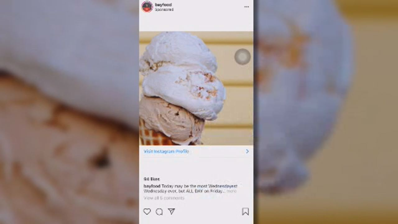 This undated image shows photo of ice cream posted on Instagram.