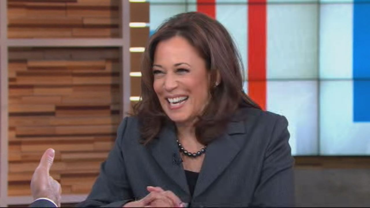 This image shows Sen. Kamala Harris speaking to ABCS George Stephanopoulos on Good Morning America on January 8.