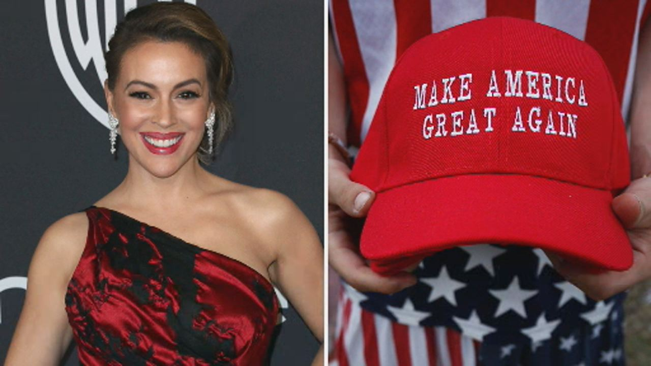 This undated image shows a photo of actress Alyssa Milano next to Make America Great Again hat worn by supporters of President Trump.