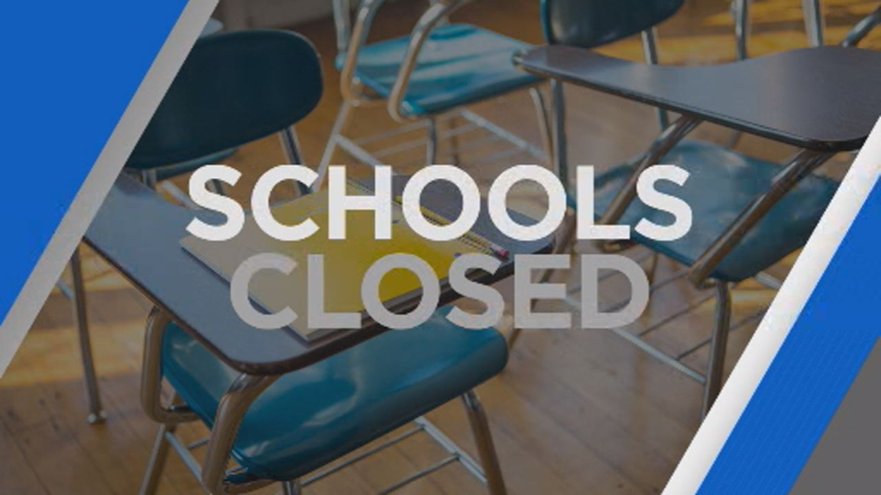 This undated image shows classroom with school closed graphic.