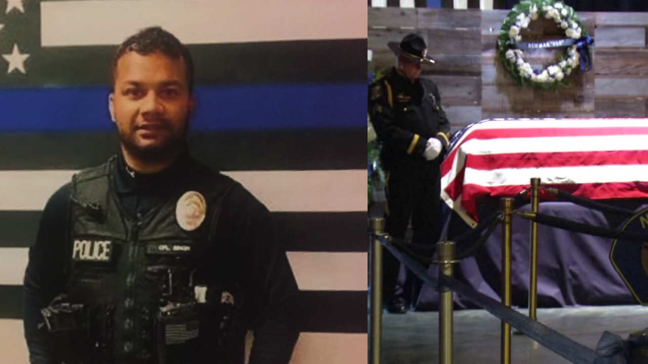 This composite image shows Newman Police Corporal Ronil Roni Singh alongside a Honor Guard viewing of his casket in Newman, Calif. on Friday, Jan. 4, 2019.