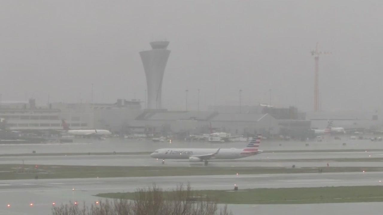 This image shows rain at San Francisco International Airport on Sunday, Jan. 6, 2019.