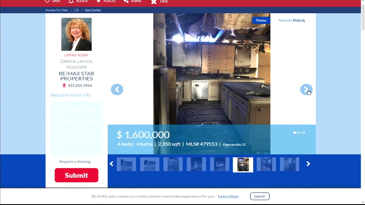 A San Carlos home with a burned out kitchen is seen in this undated real estate advertisement.