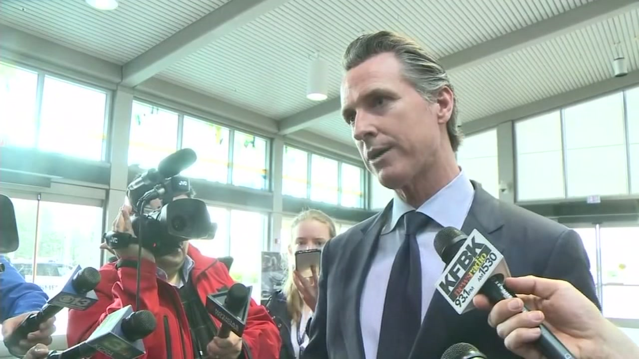 This image shows California Governor Gavin Newsom at the Sacramento International Airport of Thursday, Jan. 17, 2018 in Sacramento, Calif.