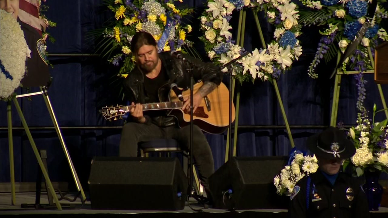 Billy Ray Cyrus performed a song at the memorial service for Davis Police Officer Natalie Corona on Friday, Jan. 18, 2019.