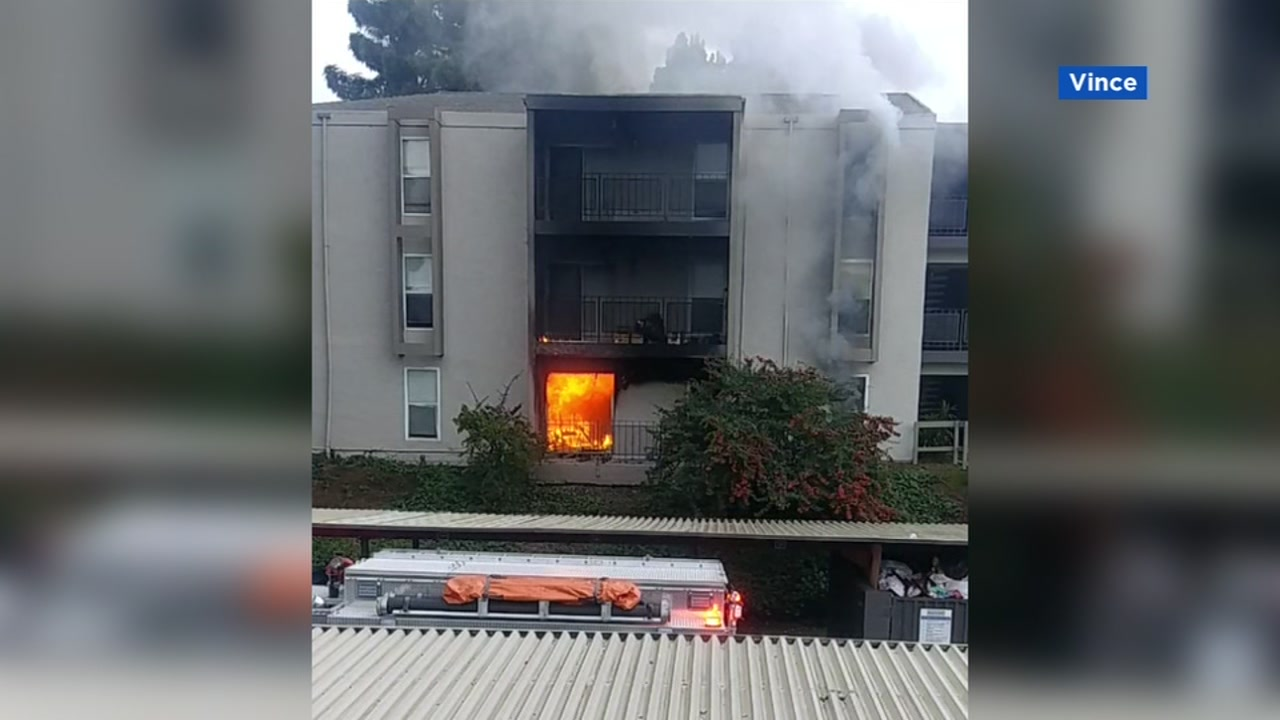 This image shows an apartment fire in Pinole, Calif. on Saturday, Jan. 19, 2019.