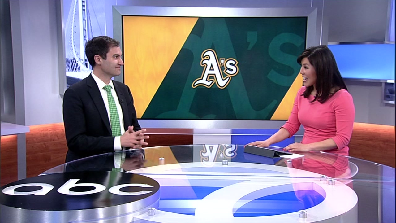 This image shows Oakland Athletics President Dave Kaval in the ABC7 studio in San Francisco, Calif.