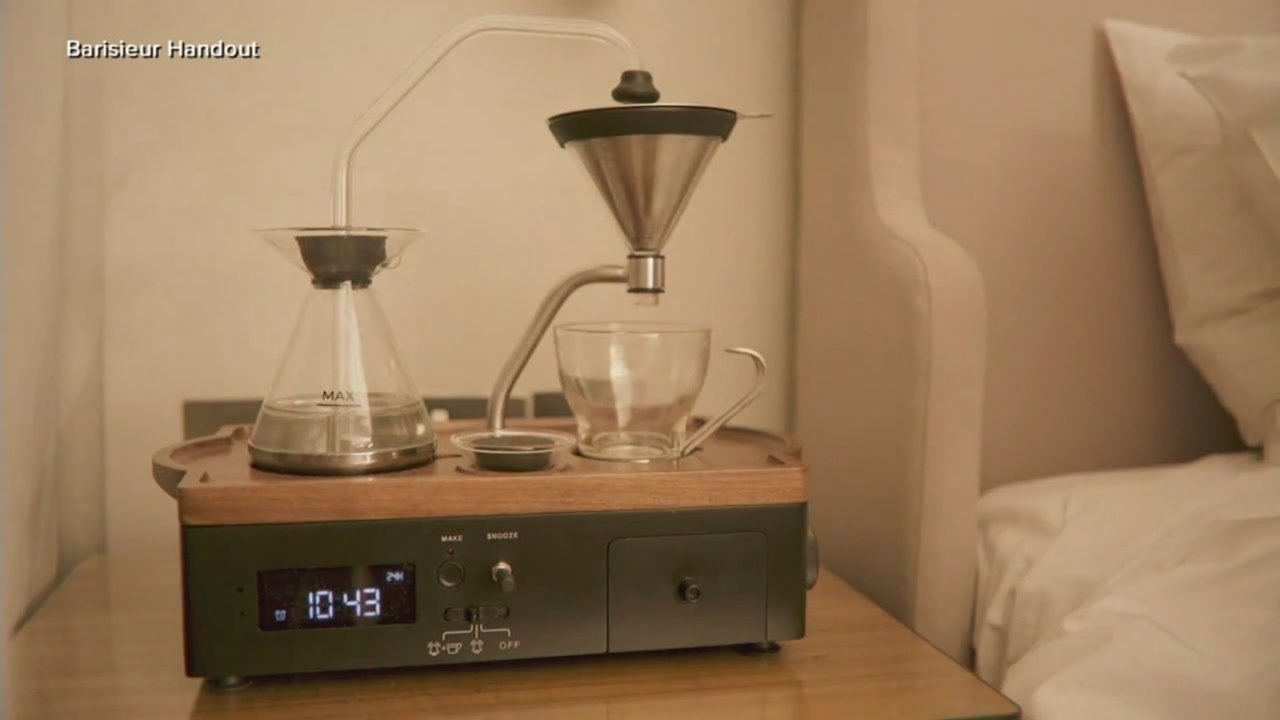 This undated image shows an alarm clock that doubles as a coffee machine.